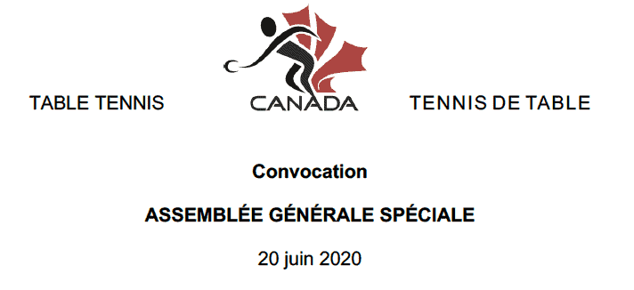 ASSEMBLÉE GÉNÉRALE SPÉCIALE – 20 juin 2020